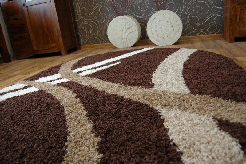 Teppich oval SHAGGY ZENA 4600 dunkel braun  dunkel beige