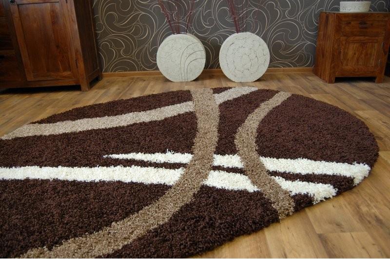 teppich oval shaggy zena 4600 dunkel braun dunkel beige. Black Bedroom Furniture Sets. Home Design Ideas
