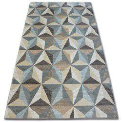 Teppich ARGENT - W6096 Dreiecke Beige / Blau