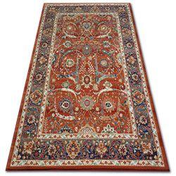 Teppich VERA 4561 Blumen terra / blue WOLLE