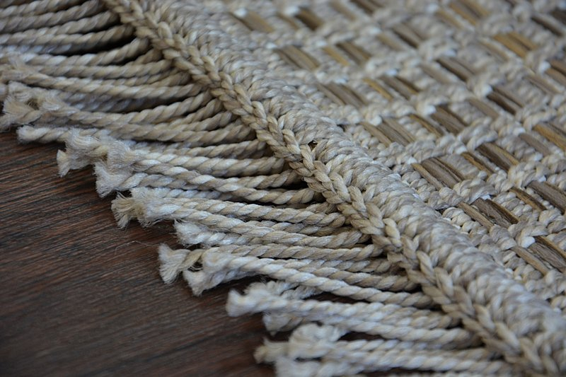Teppich Boho 46215 051 Sisal Beige Kariert Quasten Sisal