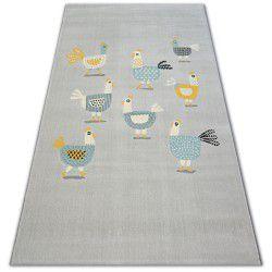 Teppich PASTEL 18413/052 - Hühner Hähnen grau türkis