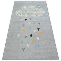 Teppich PASTEL 18409/652 - Wolke Herzen Vogel grau sahne türkis