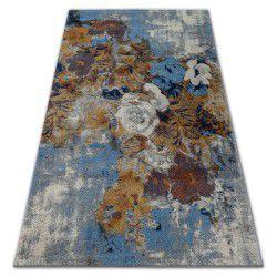 Teppich SOFT 6312 Blumen Hellgrau / Blau / Senf