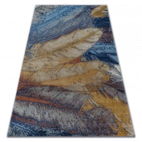 Teppich SOFT 6316 GEFIEDER Gelb / Blau / Senf