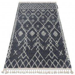 Teppich BERBER TANGER B5940 grau / weiß Franse shaggy