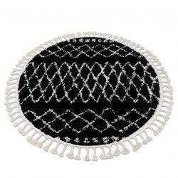 Teppich BERBER ETHNIC G3802 Kreis schwarz / weiß Franse berber marokkanisch shaggy