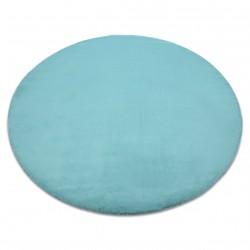 Teppich BUNNY Kreis aqua blau IMITATION VON KANINCHENPELZ