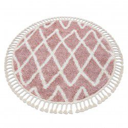 Teppich BERBER BENI Kreis rosa Franse berber marokkanisch shaggy