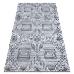 Teppich Structural SIERRA G5011 flach gewebt grau / schwarz - geometrisch, Diamanten