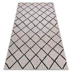 TEPPICH SIZAL FLOORLUX 20310 Diamanten Gitter silber / beige / schwarz