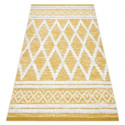 Teppich ÖKO SISAL BOHO MOROC Diamanten 22297 Franse - zwei Ebenen aus Vlies gelb / creme, recycelter Teppich