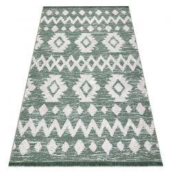 Teppich ÖKO SISAL BOHO MOROC Etno Zigzag 22319 Franse - zwei Ebenen aus Vlies grün / creme, recycelter Teppich