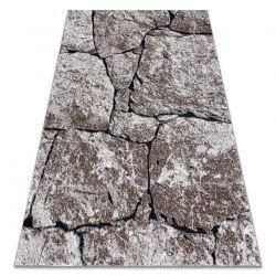 Modern Teppich COZY 8985 Brick Pflasterung Backstein, Stein - Structural zwei Ebenen aus Vlies braun