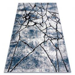 Modern Teppich COZY 8873 Cracks, gerissener Beton- Structural zwei Ebenen aus Vlies blau