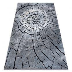 Modern Teppich COZY 8875 Wood, Baumstamm - Structural zwei Ebenen aus Vlies grau / blau