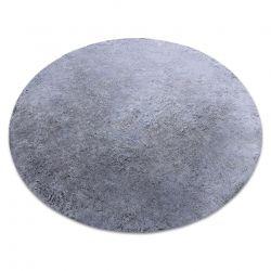 Moderner Waschteppich LAPIN Kreis Shaggy, Antirutsch schwarz / elfenbein