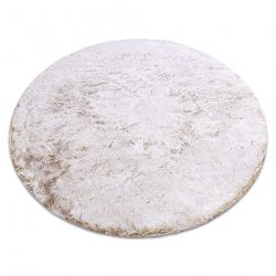Moderner Waschteppich LAPIN Kreis Shaggy, Antirutsch beige / elfenbein
