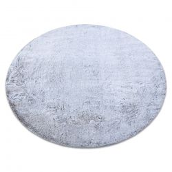 Moderner Waschteppich LAPIN Kreis Shaggy, Antirutsch grau / elfenbein