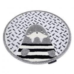 Moderner Kinderteppich JOY Kreis Walrus, Walross für Kinder - strukturelle, zwei Ebenen aus Vlies grau / creme