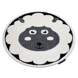 Moderner Kinderteppich JOY Kreis Sheep, Schaf für Kinder - strukturelle, zwei Ebenen aus Vlies creme / schwarz