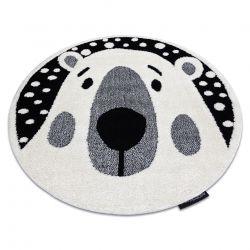 Moderner Kinderteppich JOY Kreis Teddy, Bär für Kinder - strukturelle, zwei Ebenen aus Vlies creme / schwarz