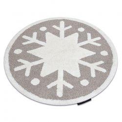 Moderner Kinderteppich JOY Kreis Snowflake, Schneeflocke für Kinder - strukturelle, zwei Ebenen aus Vlies beige / creme