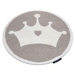 Moderner Kinderteppich JOY Kreis Crown, Krone für Kinder - strukturelle, zwei Ebenen aus Vlies beige / creme