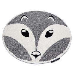 Moderner Kinderteppich JOY Kreis Fox, Fuchs für Kinder - strukturelle, zwei Ebenen aus Vlies grau / creme