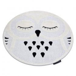 Moderner Kinderteppich JOY Kreis Owl, Eule für Kinder - strukturelle, zwei Ebenen aus Vlies grau / creme