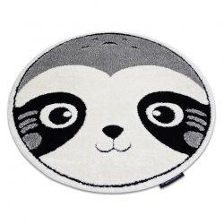 Moderner Kinderteppich JOY Kreis Panda für Kinder - strukturelle, zwei Ebenen aus Vlies grau / creme