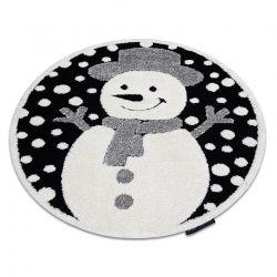 Moderner Kinderteppich JOY Kreis Snowman Schneemann, für Kinder - strukturelle, zwei Ebenen aus Vlies schwarz / creme