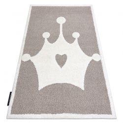 Moderner Kinderteppich JOY Crown, Krone für Kinder - strukturelle, zwei Ebenen aus Vlies beige / creme