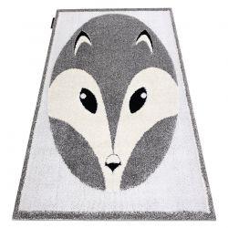 Moderner Kinderteppich JOY Fox, Fuchs für Kinder - strukturelle, zwei Ebenen aus Vlies grau / creme