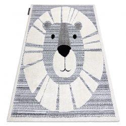 Moderner Kinderteppich JOY Lion Löwe, für Kinder - strukturelle, zwei Ebenen aus Vlies grau / creme