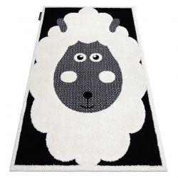 Moderner Kinderteppich JOY Sheep, Schaf für Kinder - strukturelle, zwei Ebenen aus Vlies creme / schwarz