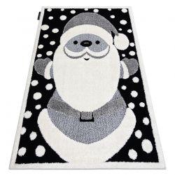 Moderner Kinderteppich JOY Santa Claus, für Kinder - strukturelle, zwei Ebenen aus Vlies schwarz / creme