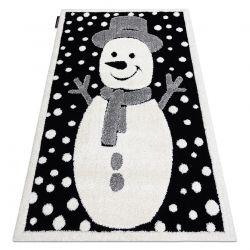 Moderner Kinderteppich JOY Snowman Schneemann, für Kinder - strukturelle, zwei Ebenen aus Vlies schwarz / creme