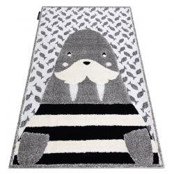 Moderner Kinderteppich JOY Walrus, Walross für Kinder - strukturelle, zwei Ebenen aus Vlies grau / creme