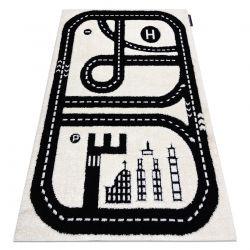 Moderner Kinderteppich JOY City, Stadt Straßen für Kinder - strukturelle, zwei Ebenen aus Vlies creme / schwarz