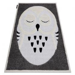 Moderner Kinderteppich JOY Owl, Eule für Kinder - strukturelle, zwei Ebenen aus Vlies grau / creme