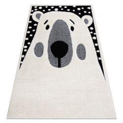 Moderner Kinderteppich JOY Teddy, Bär für Kinder - strukturelle, zwei Ebenen aus Vlies creme / schwarz