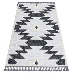 Teppich MAROC H5157 aztekisch, ethnisch weiß / schwarz Franse berber marokkanisch shaggy