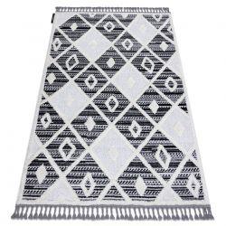 Teppich MAROC P662 Diamanten schwarz / weiß Franse berber marokkanisch shaggy