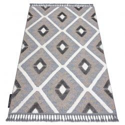 Teppich MAROC P651 Diamanten grau / weiß Franse berber marokkanisch shaggy