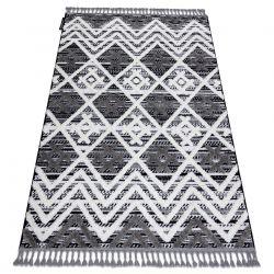 Teppich MAROC P642 Diamanten, Zickzack grau / weiß Franse berber marokkanisch shaggy