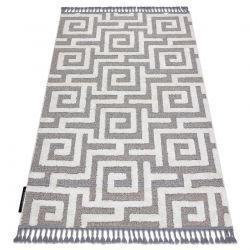 Teppich MAROC P655 Labyrinth, griechisch grau / weiß Franse berber marokkanisch shaggy