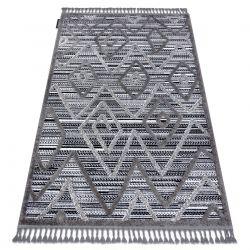 Teppich MAROC P657 Diamanten, Zickzack, ethnisch schwarz / grau Franse berber marokkanisch shaggy