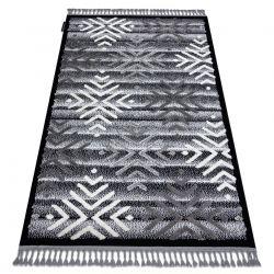Teppich MAROC P658 Schneeflocken schwarz / grau Franse berber marokkanisch shaggy