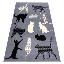 Teppich BCF FLASH Cats 3996 - Katzen, Kätzchen grau